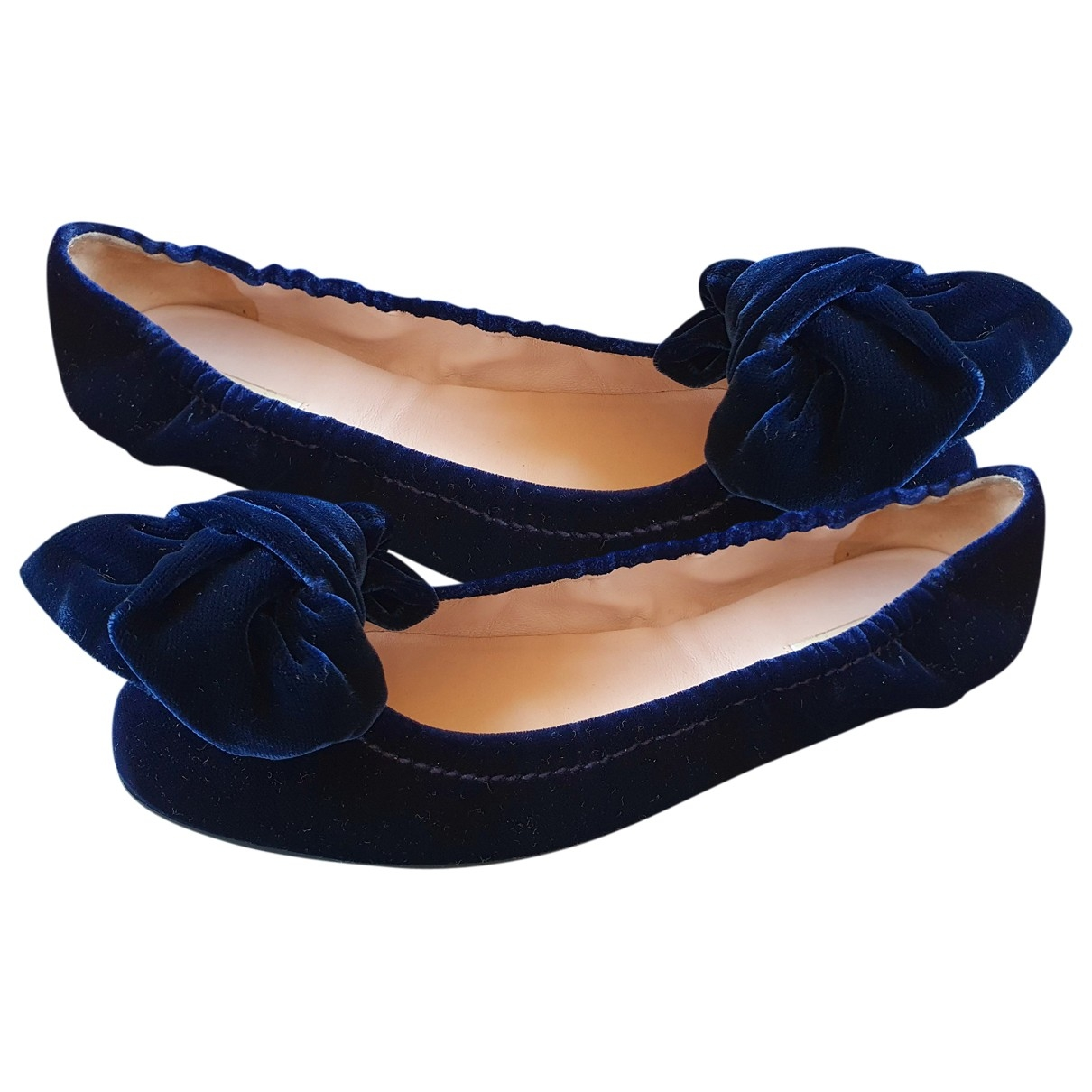 Miu Miu \N Blue Velvet Ballet flats for Women 36 EU
