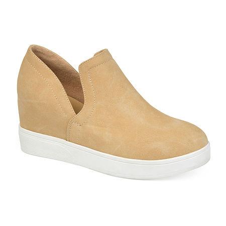 Journee Collections Womens Cardi Sneaker Wedge, 10 Medium, Brown