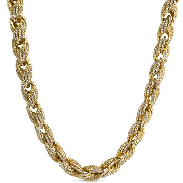 Rope CZ Gold Bling Bling Chain 10MM