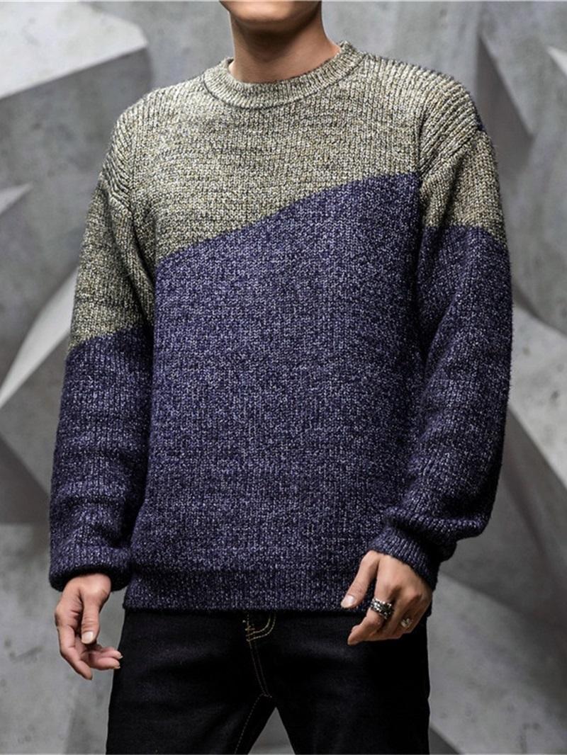 Ericdress Standard Color Block Patchwork Men's Slim Casual Sweater