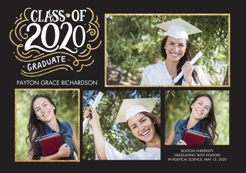2020 Graduation Announcements Flat Matte Photo Paper Cards with Envelopes, 5x7, Card & Stationery -2020 Class of HandLettered Swirls by Tumbalina