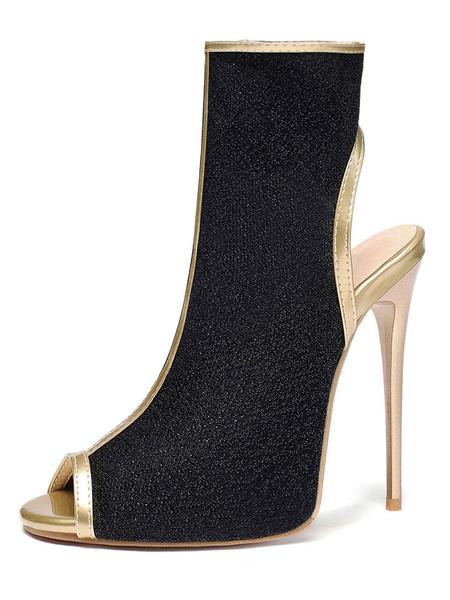 Milanoo Women\'s Glitter Summer Boots Backless Peep Toe 4.9 Stiletto Heel Boots