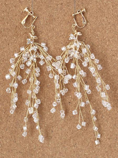 Milanoo Wedding Earrings Beaded Ear Clip Bridal Chandelier Earrings Jewelry
