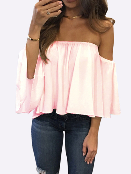 Yoins Pink Sexy Off Shoulder Loose Fit Blouse