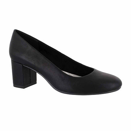 Easy Street Womens Proper Pumps Block Heel, 10 Medium, Black
