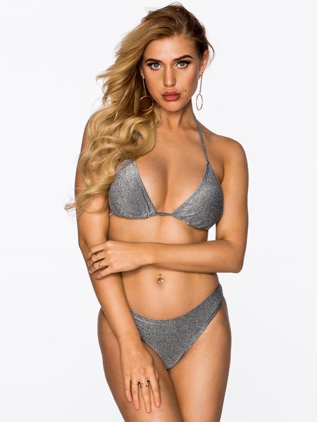 Yoins Silvery Halter V-neck Tie-up Design Bikini
