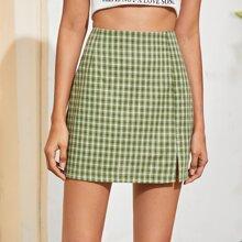 Split Hem Plaid Straight Skirt