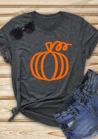 Pumpkin O-Neck T-Shirt Tee - Dark Grey