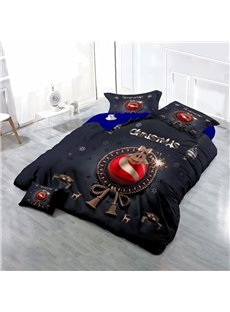 Christmas Ornament Ball Wear-resistant Breathable High Quality 60s Cotton 4-Piece 3D Bedding Sets