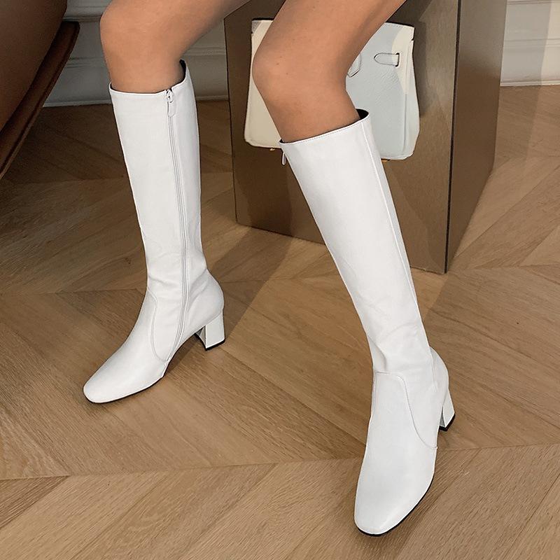 Ericdress Side Zipper Plain Square Toe Thread Women's Boots