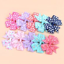 10pcs Toddler Girls Floral Pattern Bow Hair Clip