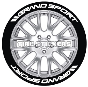 Tire Stickers GRNDSPRT-1416-15-8-O Permanent Raised Rubber Lettering '// Grand Sport' Logo - 8 of each -   14