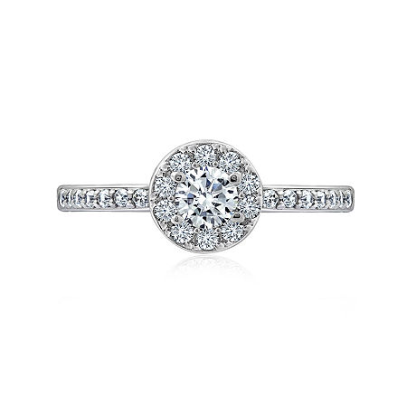 DiamonArt Womens 5/8 CT. T.W. White Cubic Zirconia Sterling Silver Promise Ring, 7 , No Color Family