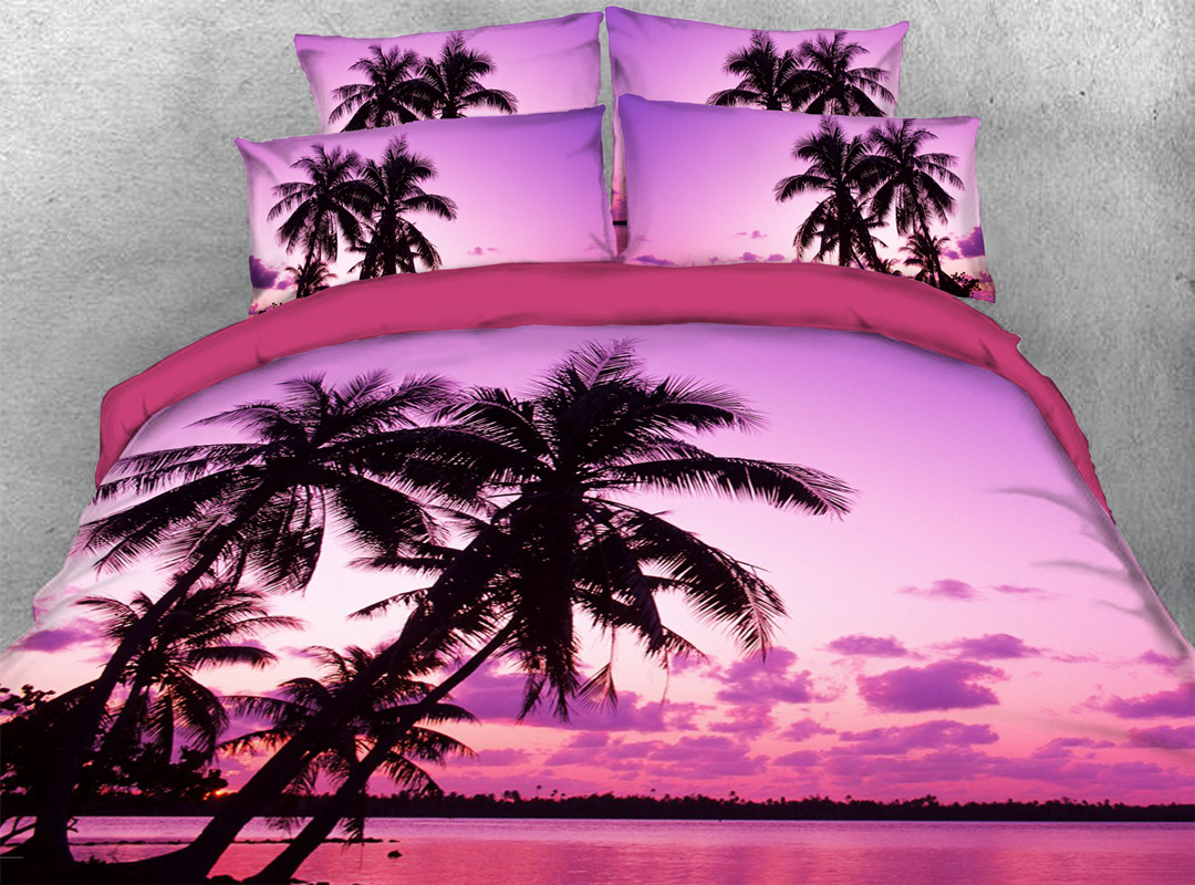 3D Palm Tree Microfiber Wrinkle/Fade Resistant 4Pcs Scenery Bedding Soft Durable Pink Duvet Cover Set with Zipper and Non-slip Ties