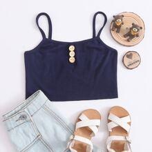Girls Button Detail Rib-knit Cami Top