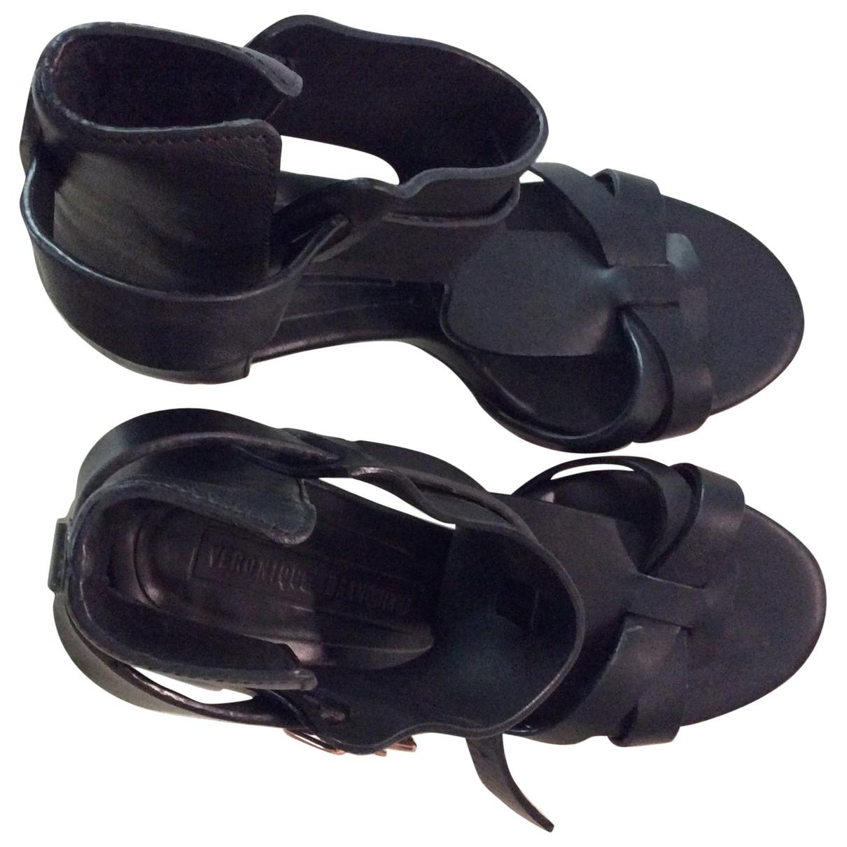 Véronique Branquinho \N Black Leather Sandals for Women 39 EU