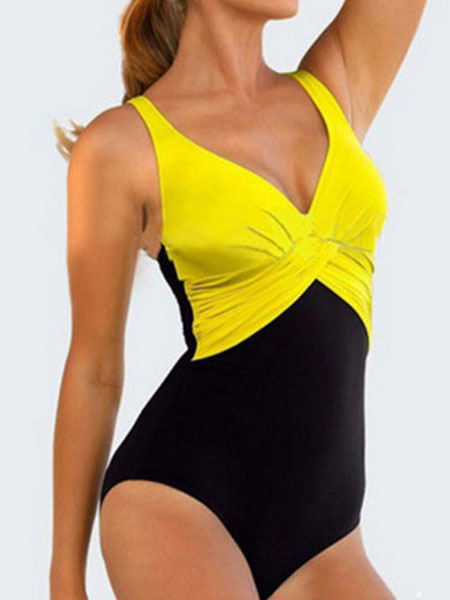 Milanoo One Piece Swimsuit Women's Color Block V Neck Beach Bathing Suit