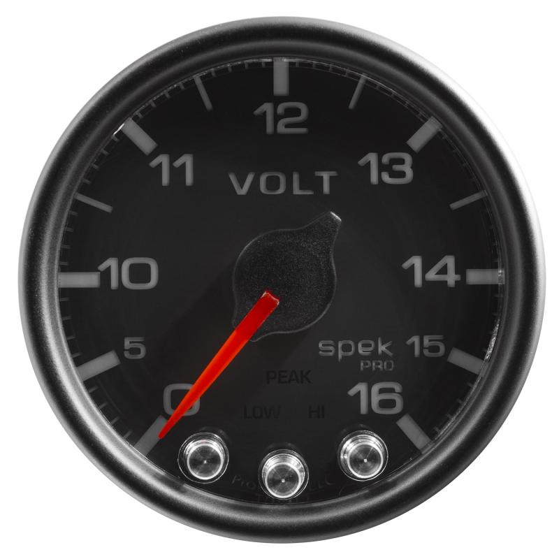 AutoMeter GAUGE; VOLTMETER; 2 1/16in.; 16V; STEPPER MOTOR W/PEAK/WARN; BLK/BLK; SPEK-PRO