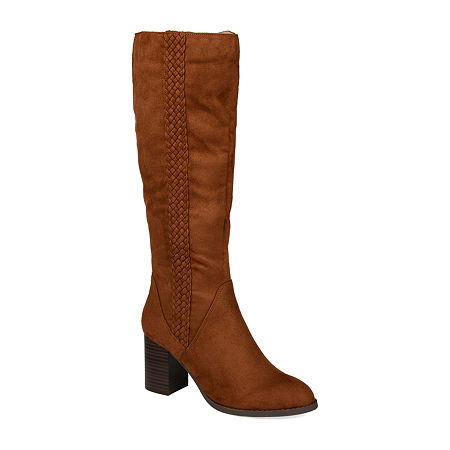 Journee Collection Womens Gentri Wide Calf Stacked Heel Over the Knee Boots, 6 1/2 Medium, Brown