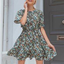 Allover Floral Print Tie Front Flounce Hem Dress