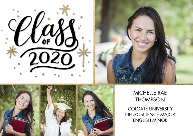 2020 Graduation Announcements 5x7 Cards, Premium Cardstock 120lb, Card & Stationery -2020 Class of Gold Stars by Tumbalina