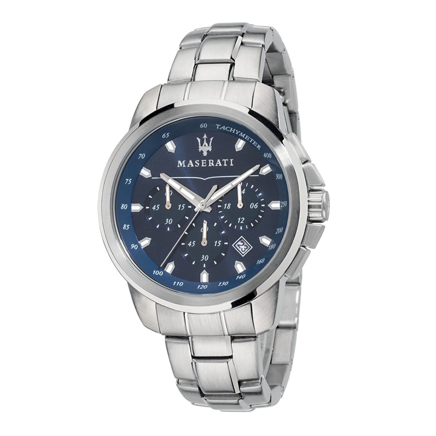 Maserati Watch R8873621002 Successo Chronograph, Tachymeter, 24-Hour Display, Date Window-Blue / Stainless Steel