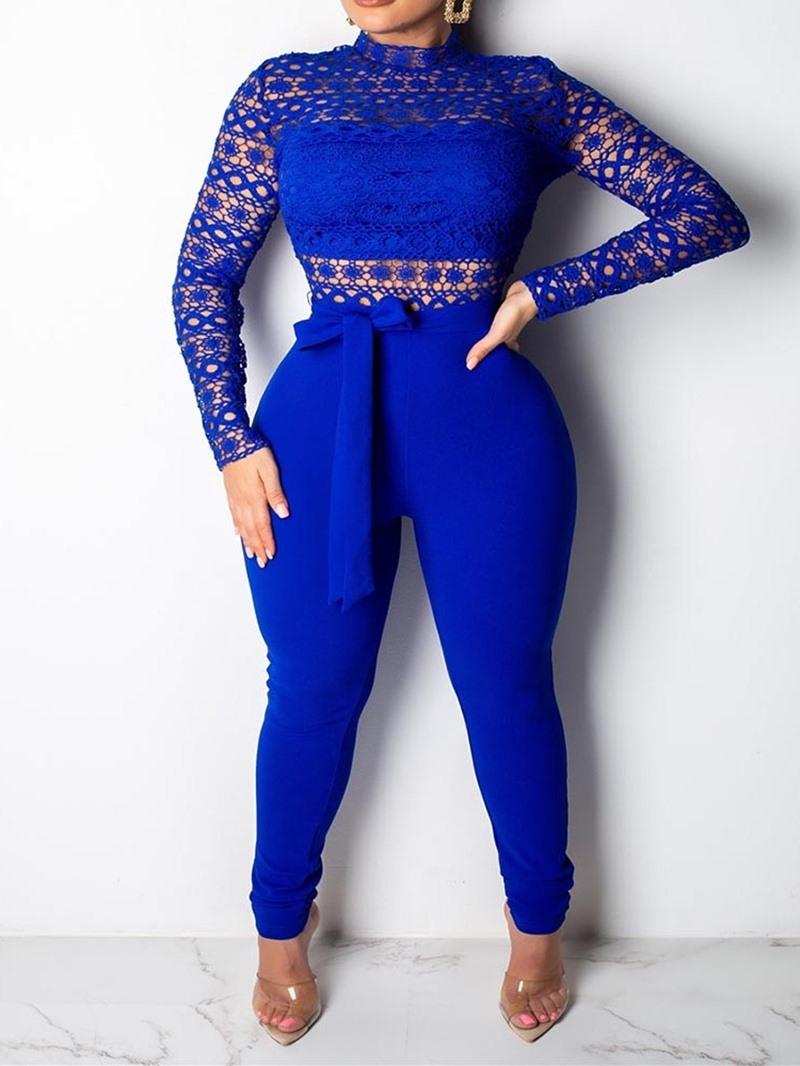 Ericdress Plain Full Length Lace Skinny Jumpsuit