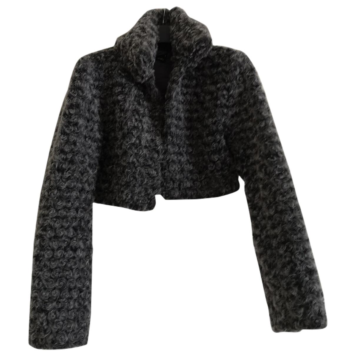 Non Signé / Unsigned Epaulettes Grey Faux fur jacket for Women S International