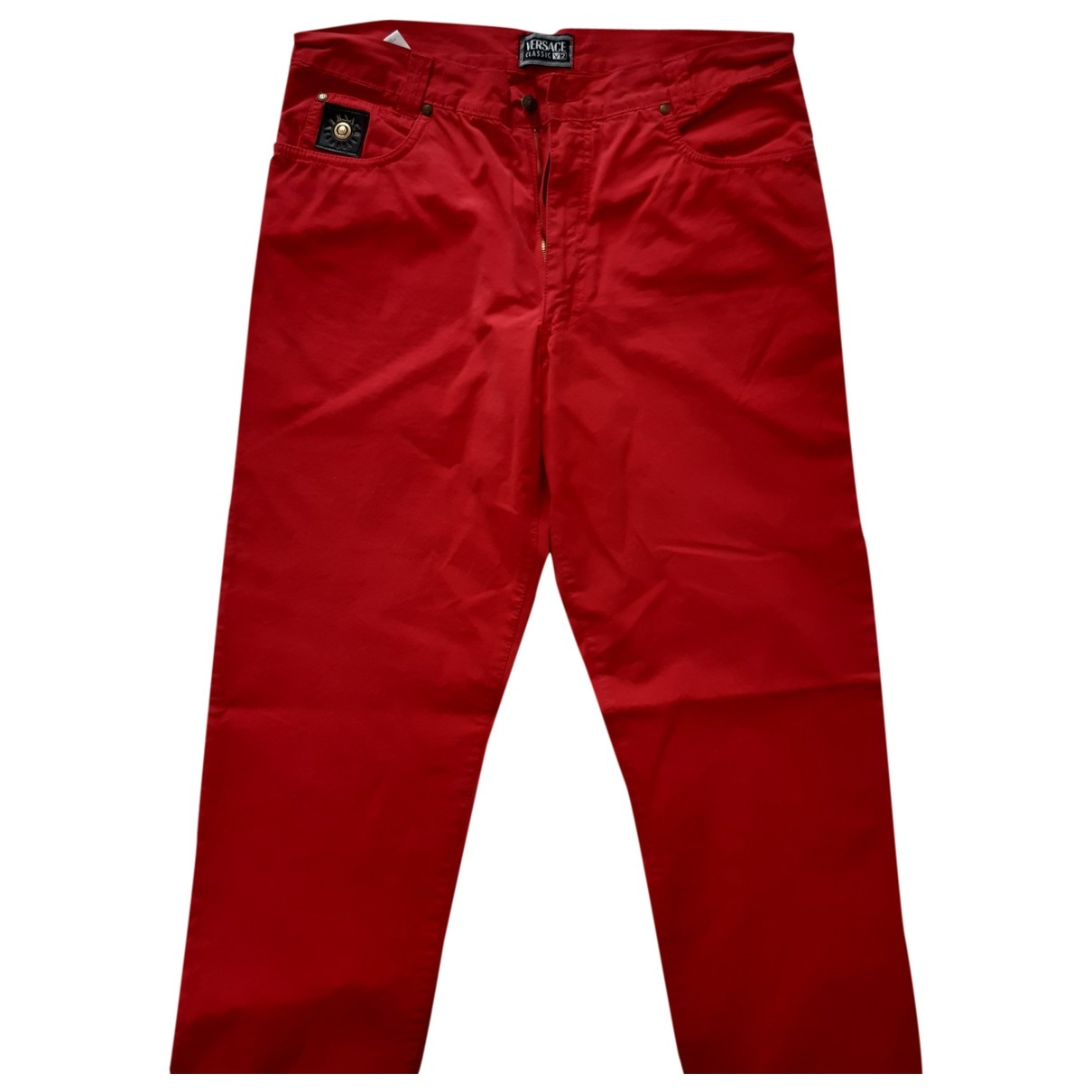 Versace \N Red Cotton Trousers for Men 36 UK - US