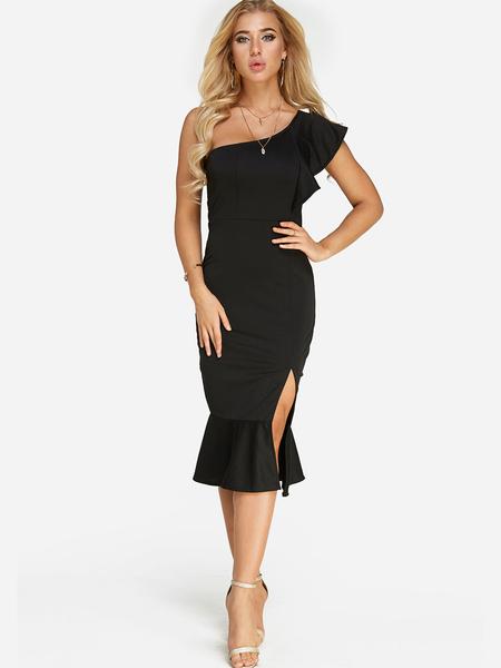 Yoins Black Sexy Slit Design One Shoulder Flounced Hem Midi Dress
