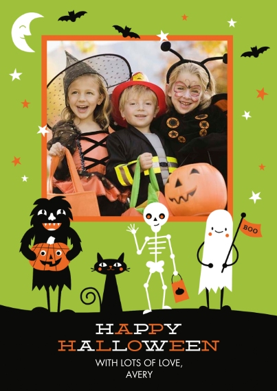 Halloween Photo Cards Flat Matte Photo Paper Cards with Envelopes, 5x7, Card & Stationery -Monster Parade