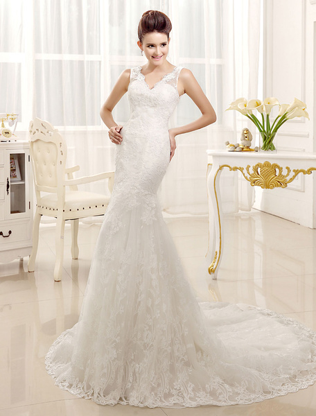 Milanoo Lace Wedding Dresses Mermaid V Neck Bridal Gown Sleeveless V Back Ivory Bridal Dress With Train