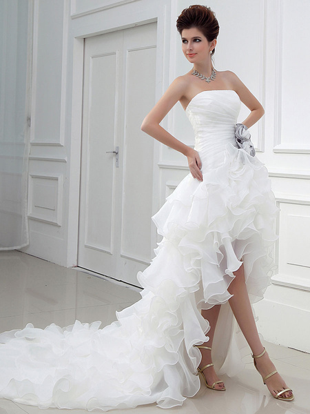 Milanoo Ivory Wedding Dress Strapless High Low Bridal Dresses Summer Asymmetrical Organza Ruffles Tiered Flowers Satin Pleated Wedding Gown