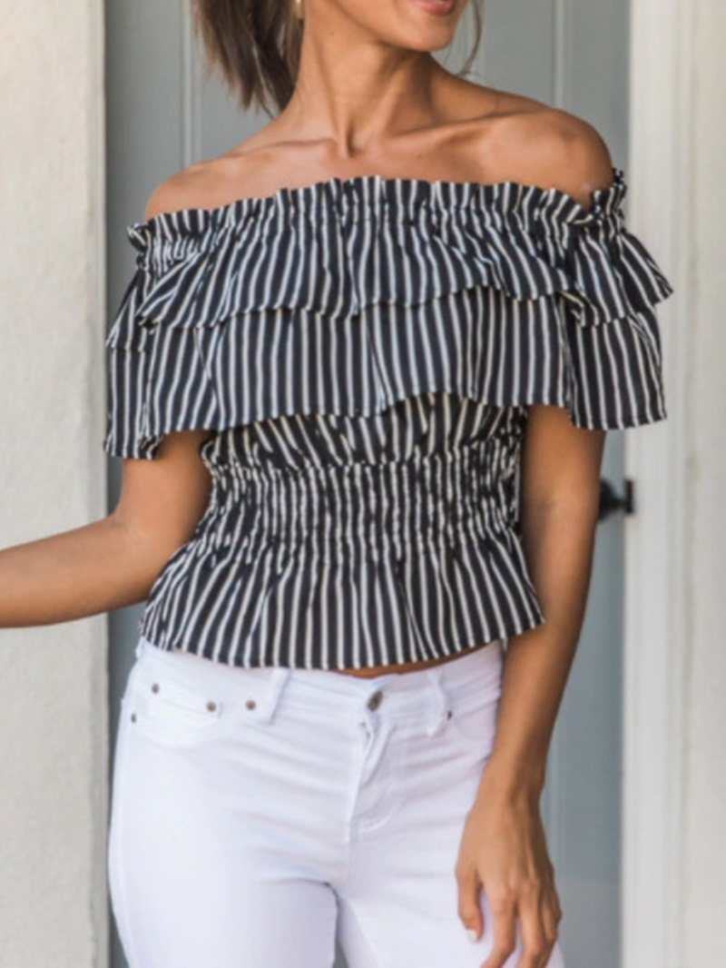 Ericdress Plus Size Off Shoulder Ruffled Striped Short Sleeve Standard Blouse