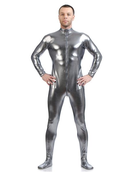 Milanoo Gray Adults Bodysuit Cosplay Jumpsuit Shiny Metallic Catsuit for Men