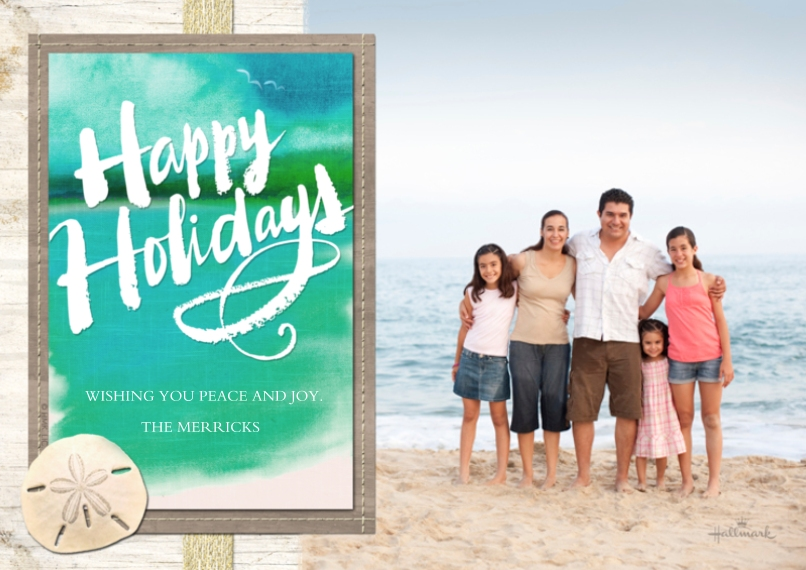 Holiday Photo Cards 5x7 Cards, Premium Cardstock 120lb with Rounded Corners, Card & Stationery -Coastal Happy Holidays