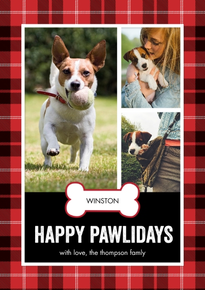 Christmas Photo Cards 5x7 Cards, Premium Cardstock 120lb, Card & Stationery -Holiday Plaid Pawlidays by Tumbalina