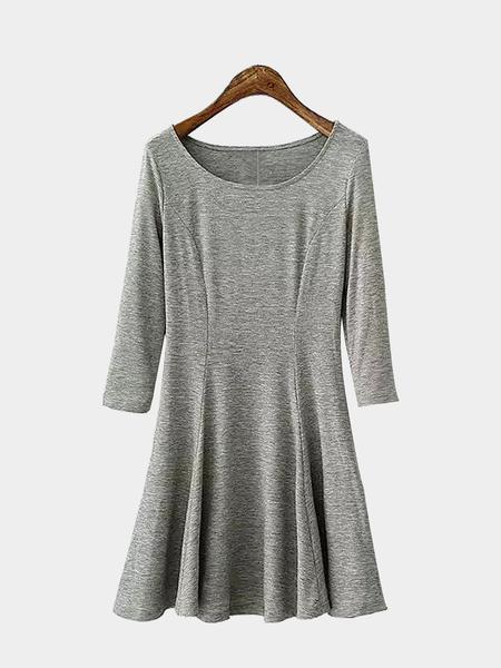 Yoins Grey 3/4 Sleeves Mini Dress