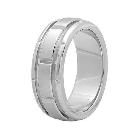 Personalized Mens 8mm Comfort Fit Stainless Steel Brick Pattern Wedding Band, 12 1/2 , No Color Family