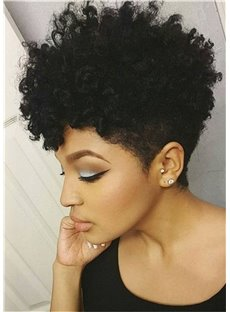 African American Short Afro Curly Human Hair Full Lace Wig