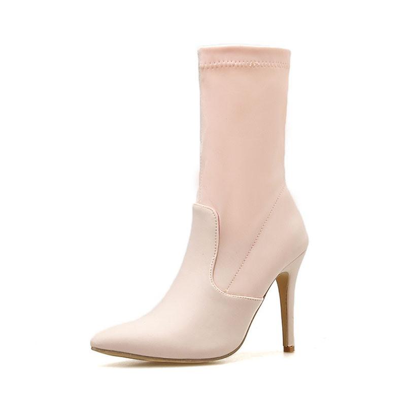 Ericdress Stiletto Heel Plain Slip-On PU Boots