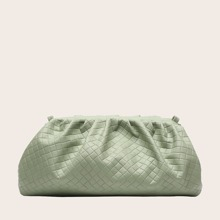 Woven Ruched Clutch Bag