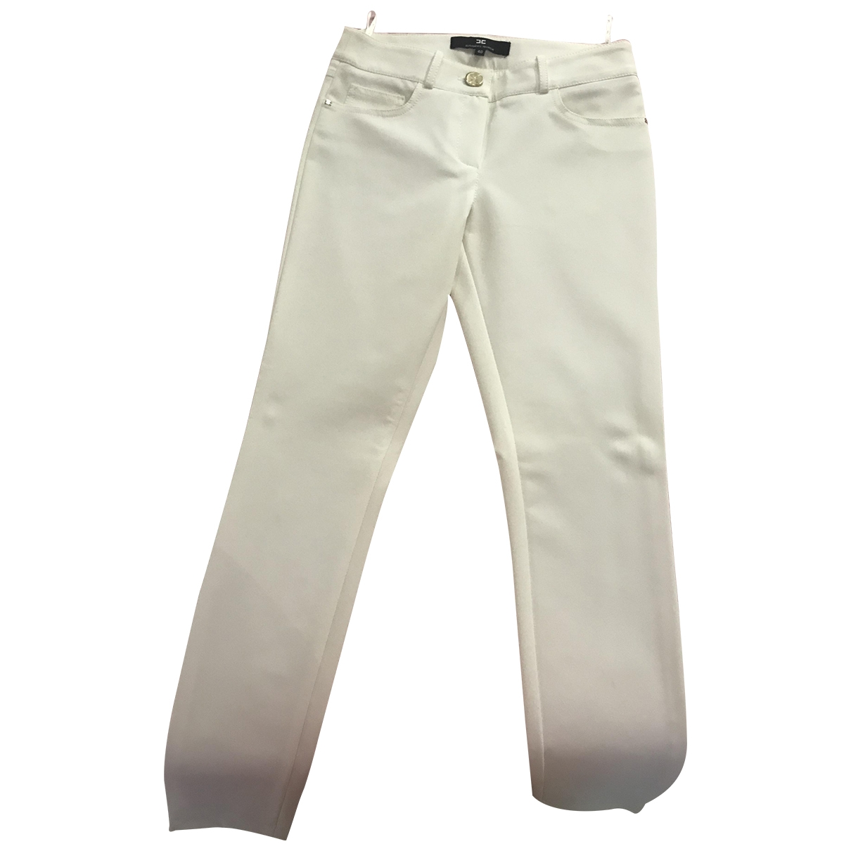 Elisabetta Franchi \N White Trousers for Women 40 IT