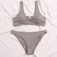Solid V Wired Bikini Swimsuit