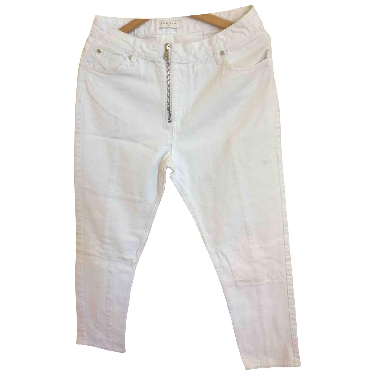 Sandro \N White Cotton Trousers for Women 40 FR