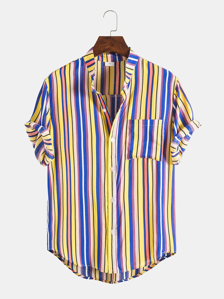 Mens Multi Color Striped Casual Chest Pocket Round Hem Short Sleeve Shirts