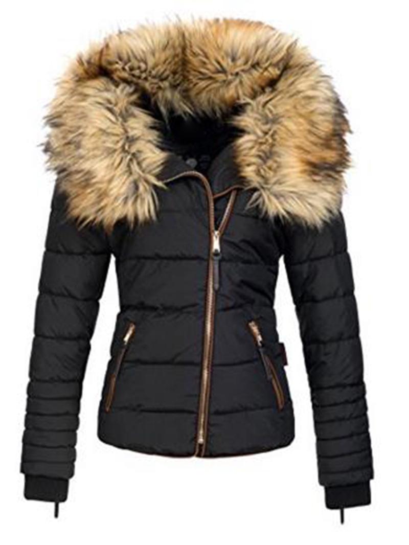 Ericdress Slim Faux Fur Zipper Women's Jacket