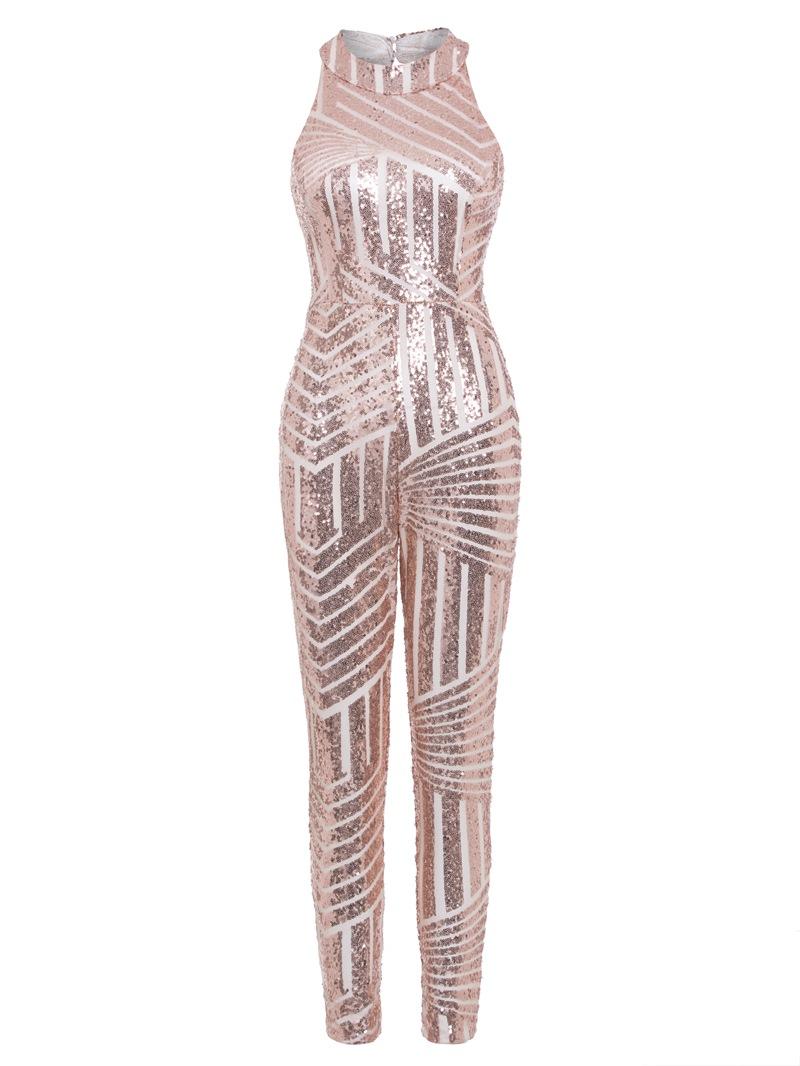 Ericdress Backless Sequins Plain Jumpsuit