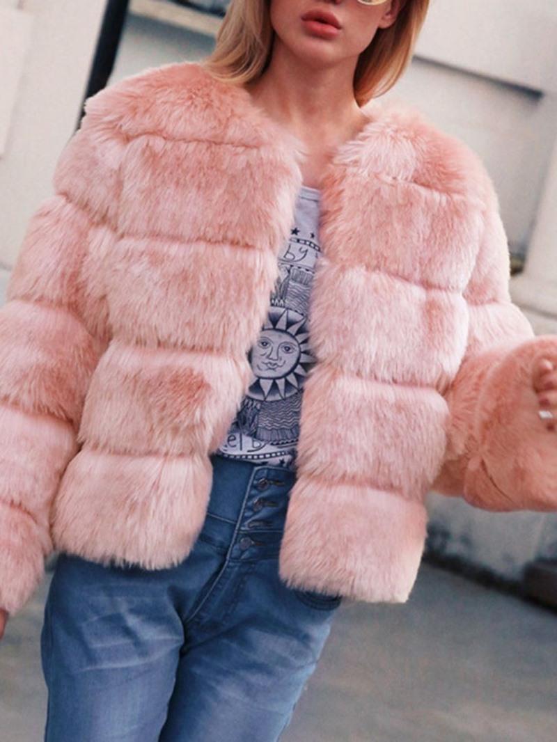 Ericdress Thick Plain Standard Faux Fur Long Sleeves Coat
