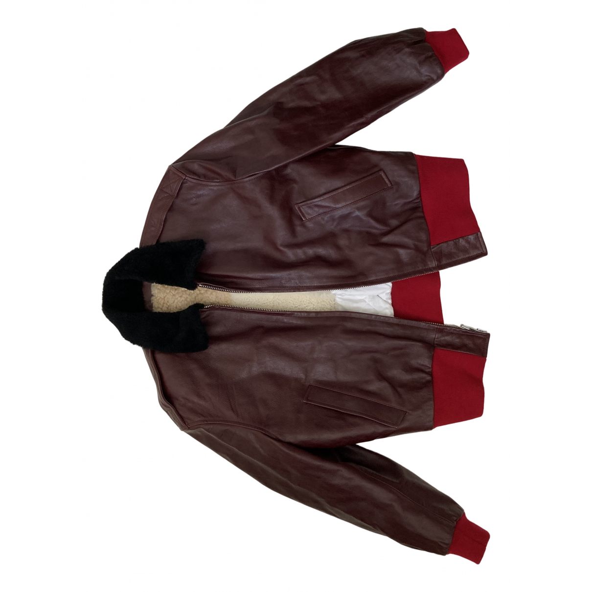 Calvin Klein 205w39nyc \N Burgundy Leather Leather jacket for Women 40 IT